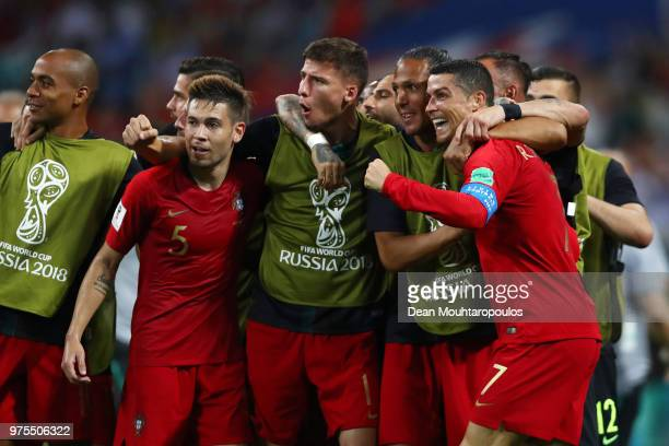 Cristiano Ronaldo of Portugal celebrates with team mates after scoring his team's second goal with team mates during the 2018 FIFA World Cup Russia...