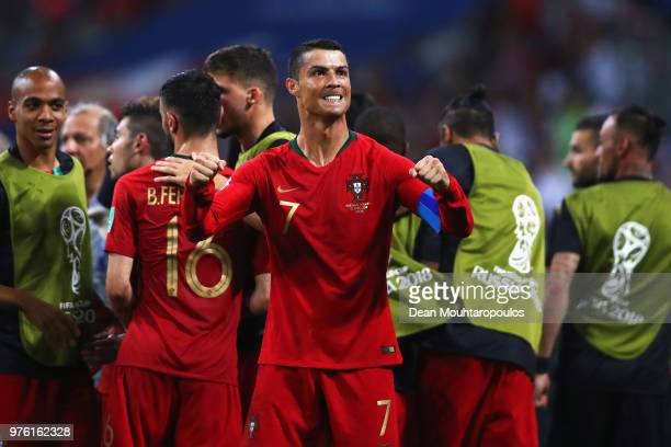 Cristiano Ronaldo of Portugal celebrates with team mates after scoring his team's second goal of the match during the 2018 FIFA World Cup Russia...