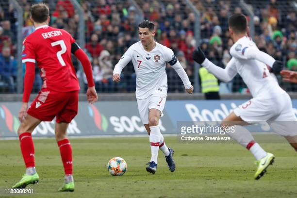 Cristiano Ronaldo of Portugal controls the ball against Lars Gerson of Luxembourg during the UEFA Euro 2020 Qualifier between Luxembourg and Portugal...