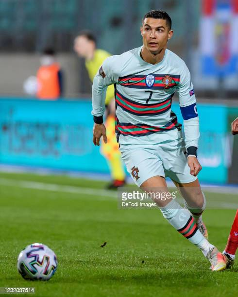 Cristiano Ronaldo of Portugal controls the ball during the FIFA World Cup 2022 Qatar qualifying match between Luxembourg and Portugal on March 30,...