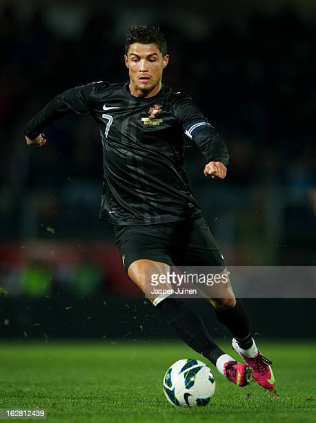 Cristiano Ronaldo of Portugal controls the ball during the international friendly match between Portugal and Ecuador at the Estadio Dom Afonso...