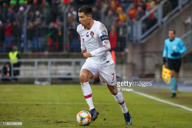 Cristiano Ronaldo of Portugal controls the ball during the UEFA Euro 2020 Qualifier between Luxembourg and Portugal on November 17 2019 in Luxembourg...