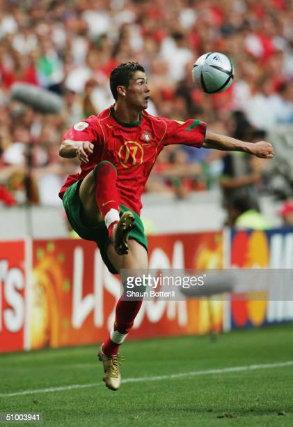 Cristiano Ronaldo of Portugal controls the ball during the UEFA Euro 2004 Quarter Final match between Portugal and England at the Luz Stadium on June...