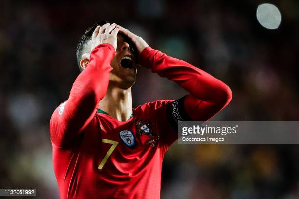 Cristiano Ronaldo of Portugal, disappointed during the EURO Qualifier match between Portugal v Ukraine at the Estádio da Luz on March 22, 2019 in...