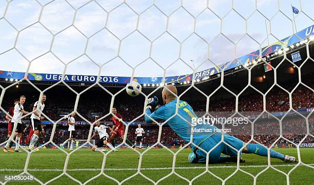 Cristiano Ronaldo of Portugal draws Robert Almer of Austria into making a save during the UEFA EURO 2016 Group F match between Portugal and Austria...