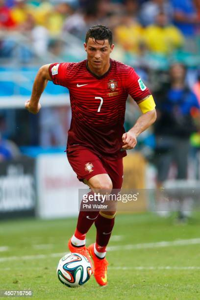 Cristiano Ronaldo of Portugal during the 2014 FIFA World Cup Brazil Group G match between Germany and Portugal at Arena Fonte Nova on June 16 2014 in...
