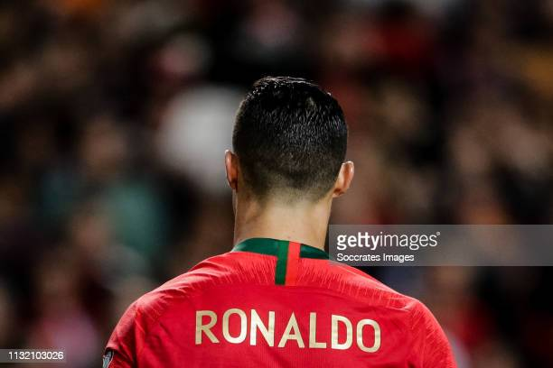 Cristiano Ronaldo of Portugal during the EURO Qualifier match between Portugal v Ukraine at the Estádio da Luz on March 22 2019 in Lissabon Portugal