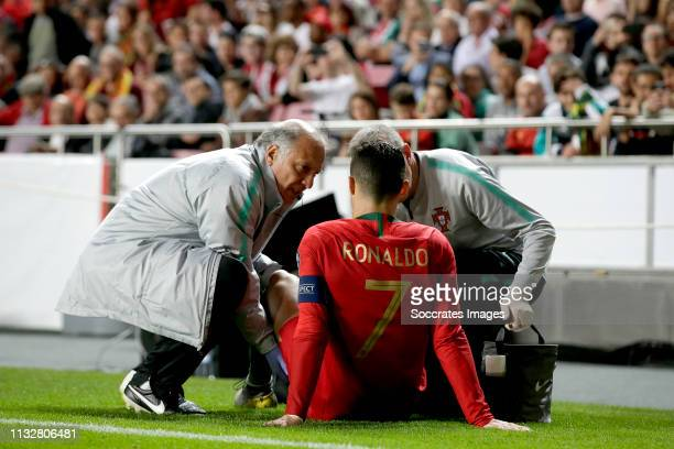 Cristiano Ronaldo of Portugal during the EURO Qualifier match between Portugal v Serbia at the Estádio da Luz on March 25 2019 in Lisbon Portugal