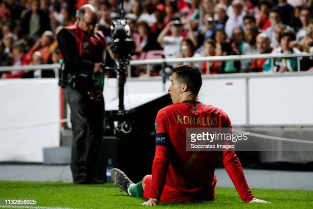 Cristiano Ronaldo of Portugal during the EURO Qualifier match between Portugal v Serbia at the Estádio da Luz on March 25, 2019 in Lisbon Portugal