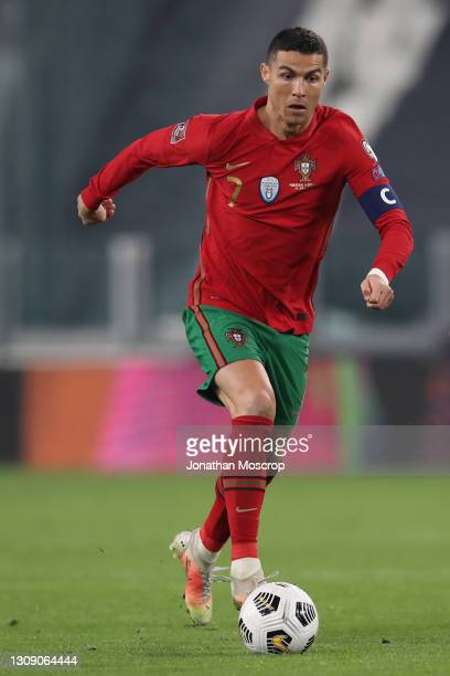 Cristiano Ronaldo of Portugal during the FIFA World Cup 2022 Qatar qualifying match between Portugal and Azerbaijan at Allianz Stadium on March 24,...