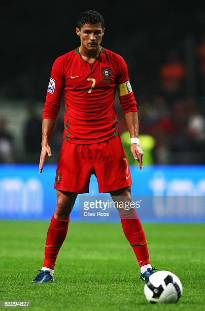 Cristiano Ronaldo of Portugal during the FIFA2010 Group One World Cup Qualifying match between Portugal and Albania at the Estadio Municipal de Braga...