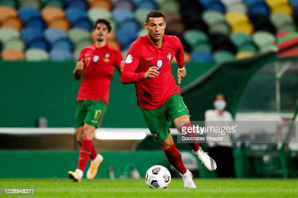 Cristiano Ronaldo of Portugal during the International Friendly match between Portugal v Spain at the Jose Alvalade stadium on October 7, 2020 in...