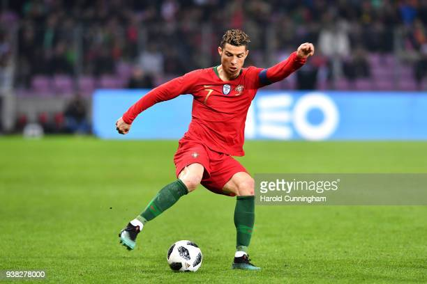 Cristiano Ronaldo of Portugal during the International Friendly match between Portugal v Netherlands at Stade de Geneve on March 26 2018 in Geneva...