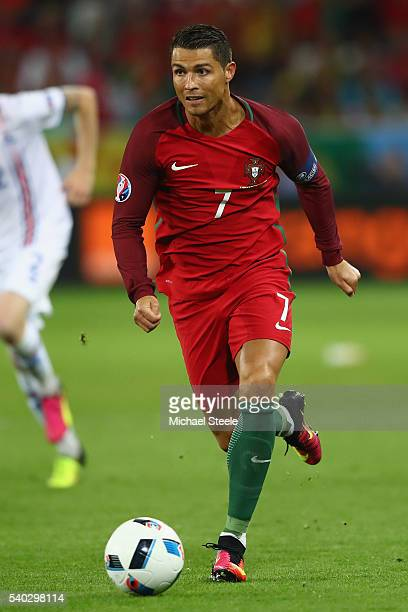 Cristiano Ronaldo of Portugal during the UEFA EURO 2016 Group F match between Portugal and Iceland at Stade GeoffroyGuichard on June 14 2016 in...