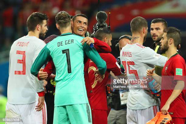 Cristiano Ronaldo of Portugal embraces David De Gea of Spain at the end of the 2018 FIFA World Cup Russia group B match between Portugal and Spain at...