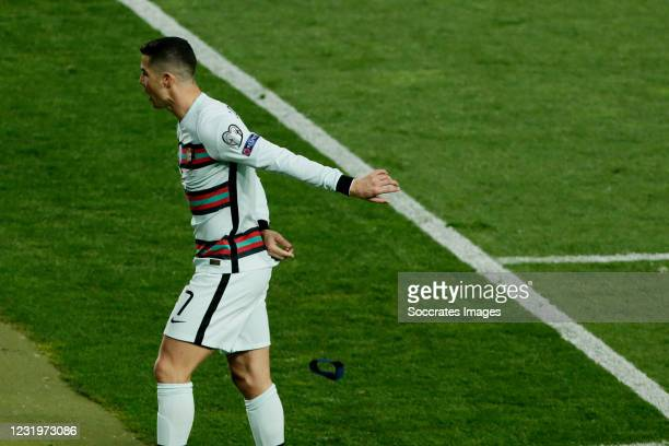 Cristiano Ronaldo of Portugal frustrated during the World Cup Qualifier match between Serbia v Portugal at the Stadion Rajko Mitic on March 27, 2021...