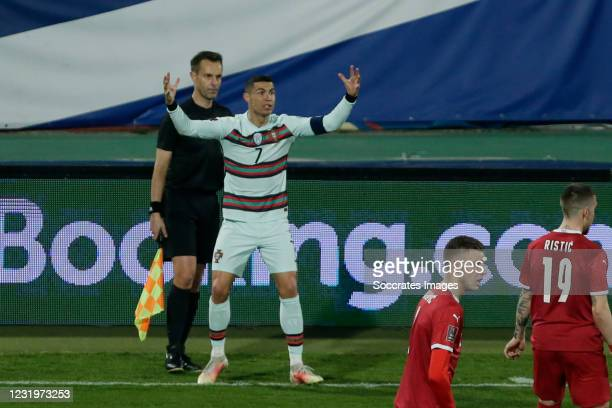 Cristiano Ronaldo of Portugal furious at Assistant referee Mario Diks Portugal robbed last minute goal clearly over the line during the World Cup...