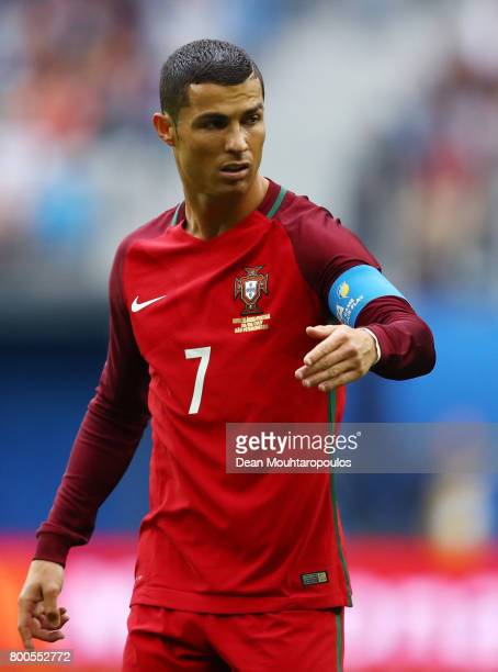 Cristiano Ronaldo of Portugal gestuers during the FIFA Confederations Cup Russia 2017 Group A match between New Zealand and Portugal at Saint...