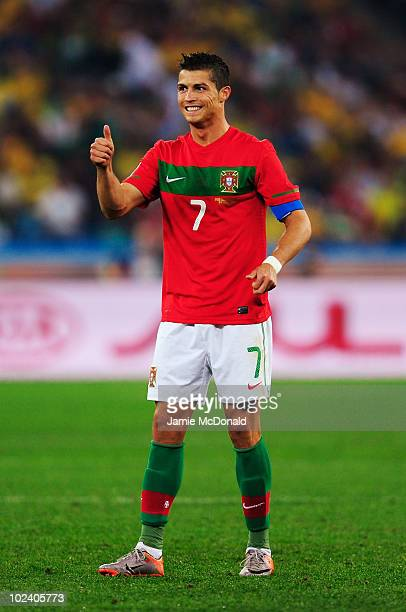 Cristiano Ronaldo of Portugal gives a thumbs up during the 2010 FIFA World Cup South Africa Group G match between Portugal and Brazil at Durban...