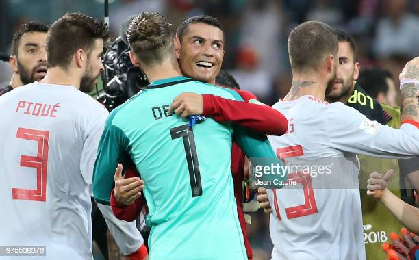 Cristiano Ronaldo of Portugal greets David de Gea of Spain after scoring 3 goals against him following the 2018 FIFA World Cup Russia group B match...
