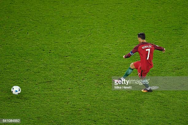 Cristiano Ronaldo of Portugal hits the post from the penalty spot during the UEFA EURO 2016 Group F match between Portugal and Austria at Parc des...