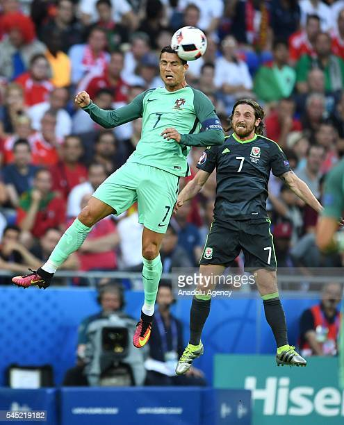 Cristiano Ronaldo of Portugal in action against Joe Allen of Wales during the UEFA Euro 2016 semi final match between Portugal and Wales at Stade de...