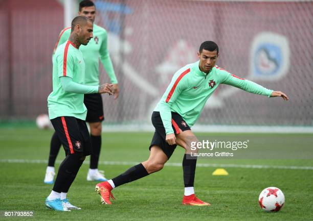Cristiano Ronaldo of Portugal in action during a training session at Stadium Rubin on June 27 2017 in Kazan Russia