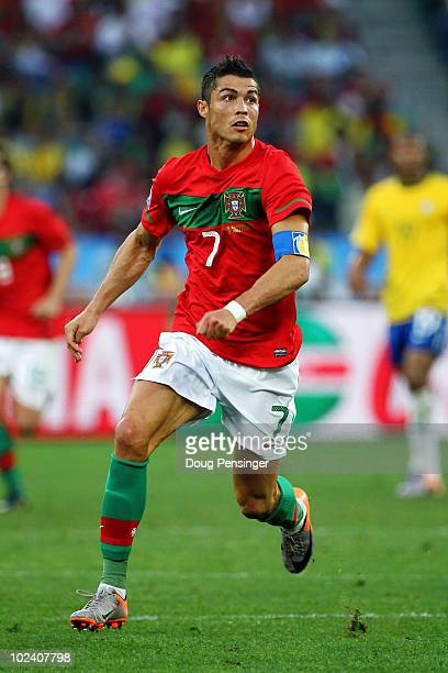 Cristiano Ronaldo of Portugal in action during the 2010 FIFA World Cup South Africa Group G match between Portugal and Brazil at Durban Stadium on...