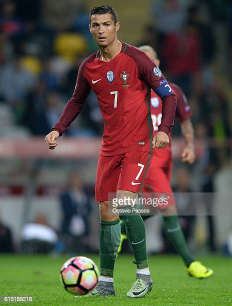 Cristiano Ronaldo of Portugal in action during the 2018 FIFA World Cup Qualifiers Group B first leg match between Portugal and Andorra at the Aveiro...