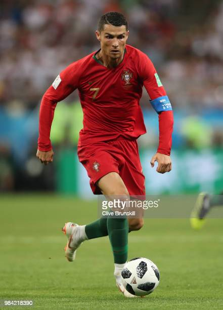 Cristiano Ronaldo of Portugal in action during the 2018 FIFA World Cup Russia group B match between Iran and Portugal at Mordovia Arena on June 25...