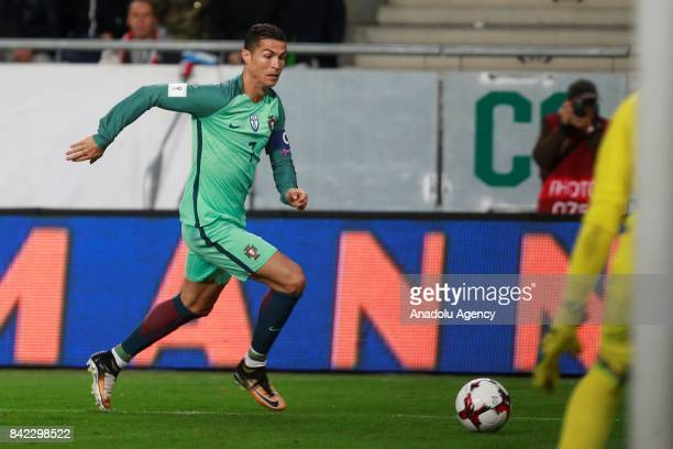Cristiano Ronaldo of Portugal in action during the FIFA 2018 World Cup Qualifier match between Hungary and Portugal at Groupama Arena on September 3...