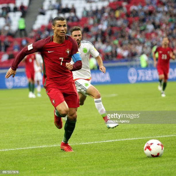 Cristiano Ronaldo of Portugal in action during the FIFA Confederations Cup 2017 group A soccer match between Portugal and Mexico at 'KazanArena'...