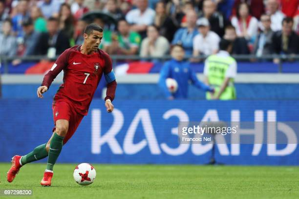 Cristiano Ronaldo of Portugal in action during the FIFA Confederations Cup Russia 2017 Group A match between Portugal and Mexico at Kazan Arena on...