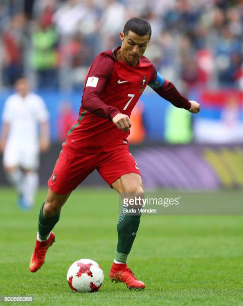 Cristiano Ronaldo of Portugal in action during the FIFA Confederations Cup Russia 2017 Group A match between New Zealand and Portugal at Saint...