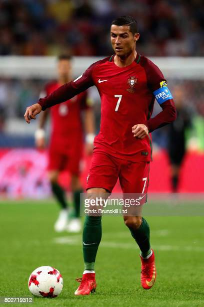 Cristiano Ronaldo of Portugal in action during the FIFA Confederations Cup Russia 2017 SemiFinal between Portugal and Chile at Kazan Arena on June 28...