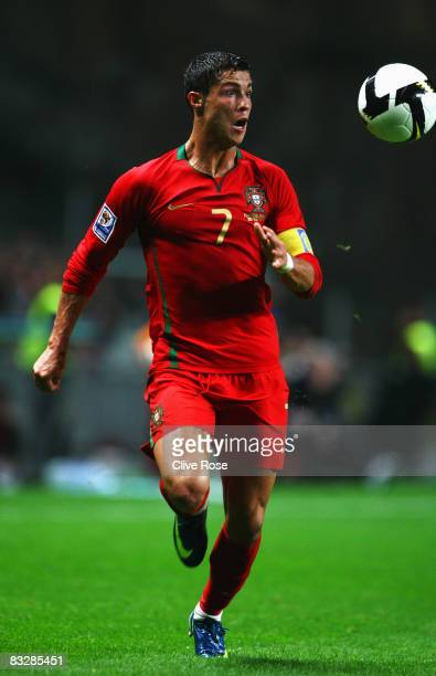 Cristiano Ronaldo of Portugal in action during the FIFA2010 Group One World Cup Qualifying match between Portugal and Albania at the Estadio...
