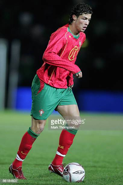Cristiano Ronaldo of Portugal in action during the International friendly match between Northern Ireland and Portugal at Windsor Park on November 15...