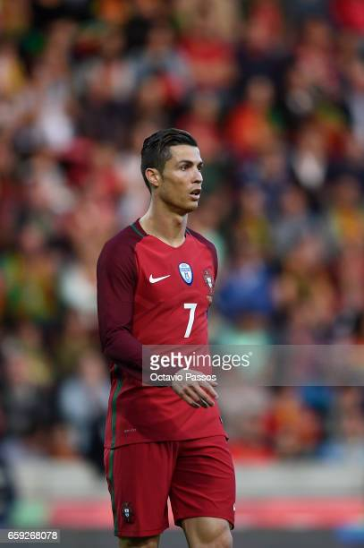 Cristiano Ronaldo of Portugal in action during the International friendly match between Portugal and Sweden at Barreiros stadium on March 28 2017 in...