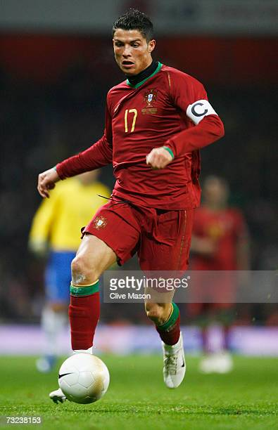 Cristiano Ronaldo of Portugal in action during the International friendly match between Brazil and Portugal at the Emirates Stadium on February 6...