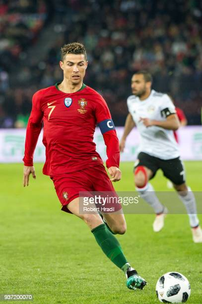 Cristiano Ronaldo of Portugal in action during the International Friendly between Portugal and Egypt at the Letzigrund Stadium on March 23 2018 in...