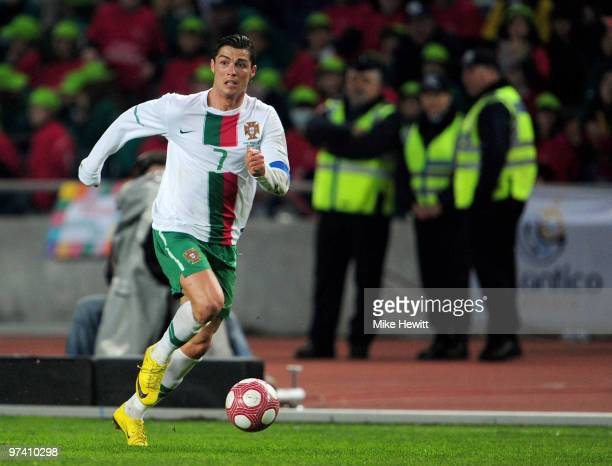 Cristiano Ronaldo of Portugal in action during the International Friendly match between Portugal and Republic of China at the City of Coimbra Stadium...