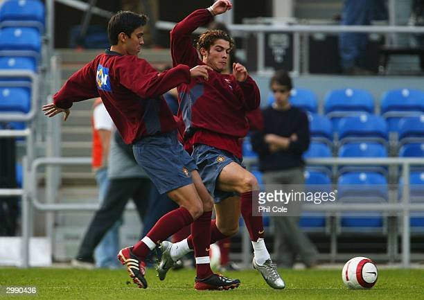 Cristiano Ronaldo of Portugal in action during the Portugal training session on February 172003 in Faro Portugal