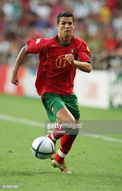 Cristiano Ronaldo of Portugal in action during the UEFA Euro 2004 Final match between Portugal and Greece at the Luz Stadium on July 4 2004 in Lisbon...