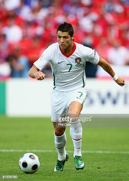 Cristiano Ronaldo of Portugal in action during the UEFA EURO 2008 Group A match between Czech Republic and Portugal at Stade de Geneve on June 11,...