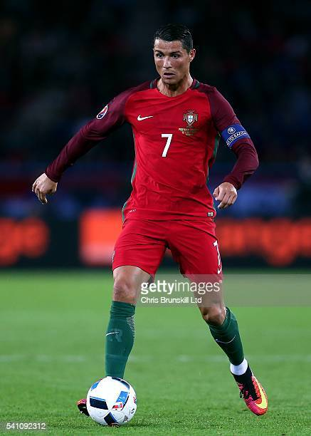 Cristiano Ronaldo of Portugal in action during the UEFA Euro 2016 Group F match between the Portugal and Austria at Parc des Princes on June 18, 2016...