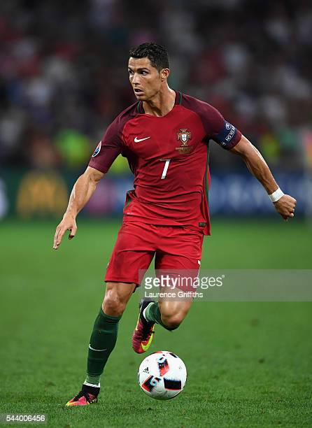 Cristiano Ronaldo of Portugal in action during the UEFA EURO 2016 quarter final match between Poland and Portugal at Stade Velodrome on June 30 2016...