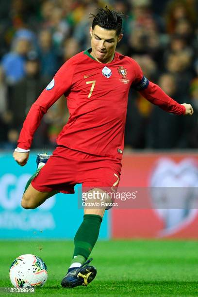 Cristiano Ronaldo of Portugal in action during the UEFA Euro 2020 Qualifier match between Portugal and Lithuania at Algarve Stadium on November 14...