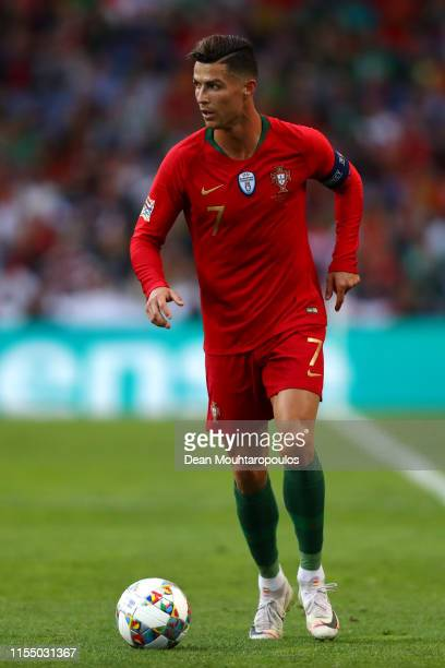 Cristiano Ronaldo of Portugal in action during the UEFA Nations League Final between Portugal and the Netherlands at Estadio do Dragao on June 09...