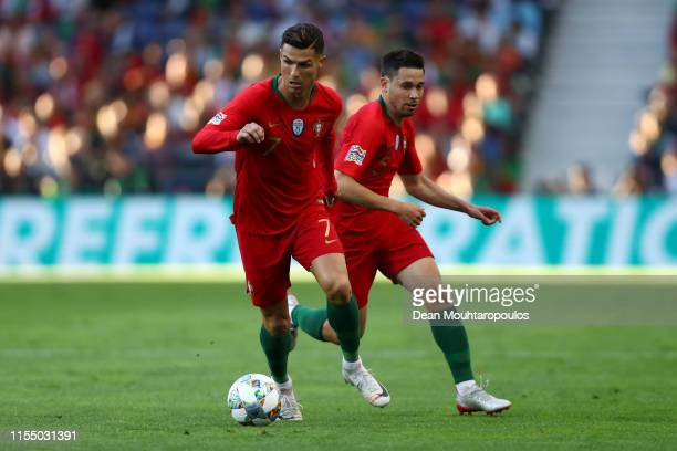 Cristiano Ronaldo of Portugal in action during the UEFA Nations League Final between Portugal and the Netherlands at Estadio do Dragao on June 09,...