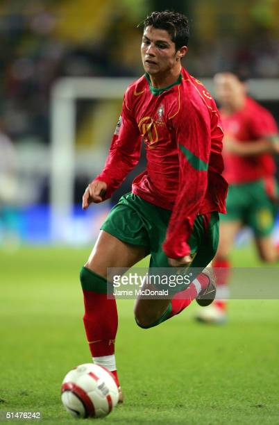 Cristiano Ronaldo of Portugal in action during the World Cup Group 3 match between Portugal and Russia on October 13 2004 at the Estadio Jose...